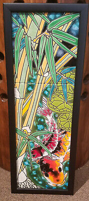 Ceramic Hawaiian Hawaii Framed Tile Wall Art - 3 Piece Bamboo & Koi Fish