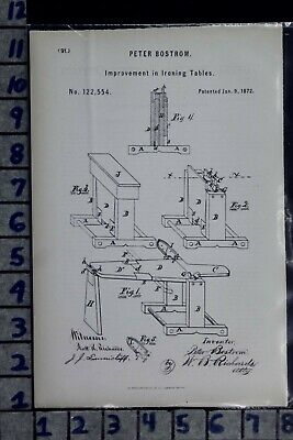 1872 Bostrom Galesburg Illinois Ironing Table Board Laundry Patent Litho 122554