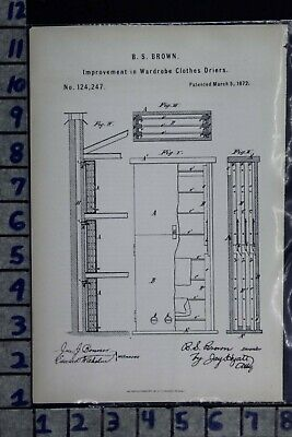 1872 Brown New York Clothes Dryer Laundry Wardrobe Textile Patent Litho 124247