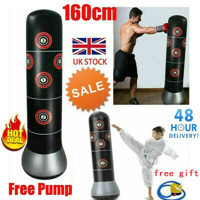 Punch Bag Heavy Duty 5.5ft Standing Boxing MMA Gym Kick Training Black Red