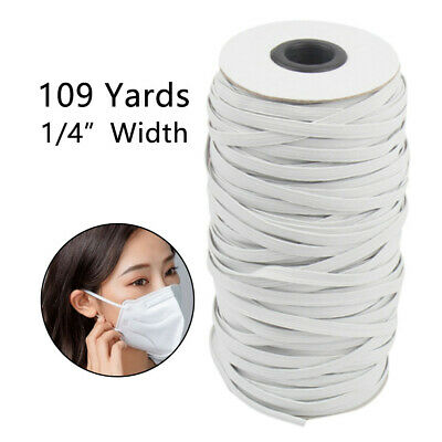 5MM, 5Meters Elastic for Sewing White Elastic String Elastic Cord Wide Braided Stretch Strap for DIY Sewing Crafting Flat Elastic Band
