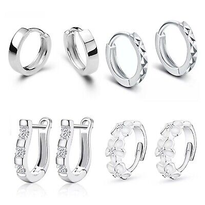 925 Sterling Silver Huggie Hoop Earrings