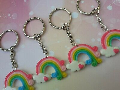 Wholesale 10 Resin Rainbow And Heart Keyrings Large, Gifts, Party Bag Fillers.