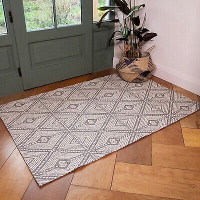 Scandi Grey Flatweave Rug Cotton Living Room Rugs Small Large Bedroom Mat Runner