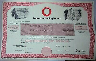 Lucent Technologies Collectible 1996 New York stock certificate (7 shares) +MORE