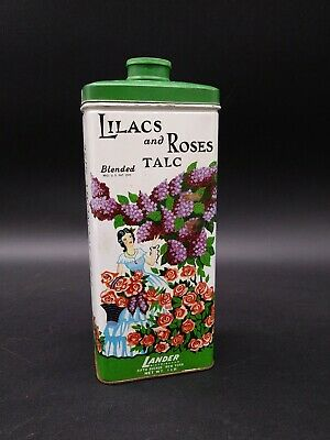 Collectible Vintage Lander LILACS and ROSES Blended TALC Powder Tin full 1lb.
