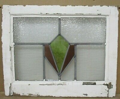 "OLD ENGLISH LEADED STAINED GLASS WINDOW Simple Geometric Design 20.5"" x 16.25"""