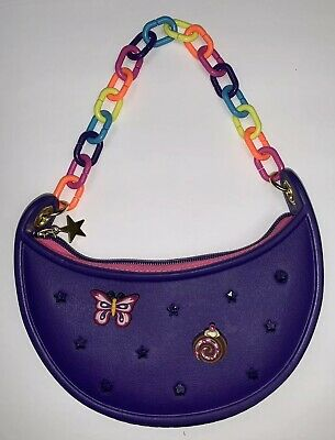 CROCS EVA Kids Girls Childs Handbag Purple PURSE Jibbitz Charms