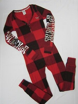 BLING Victoria Secret Pink RED PLAID SEQUIN ❤ THERMAL WAFFLE ONE PIECE PAJAMAS S