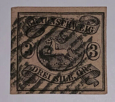 TRAVELSTAMPS: 1853-1861 Germany Brunswick Stamps Scott #10 Arms, Used, Ng, 3sgr.