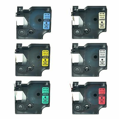 6PK 45016 45017 45018 45019 45022 45023 Laminated Label Tape For Dymo D1 12mm