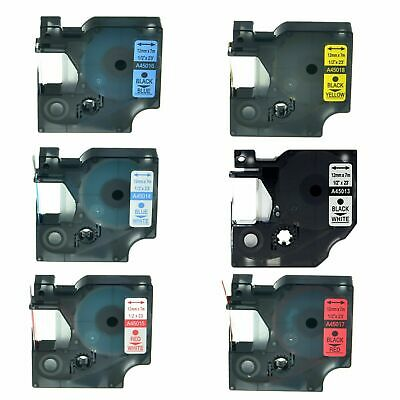 6PK 45013 45014 45015 45016 45017 45018 Label Tape For Dymo D1 LabelManager 12mm