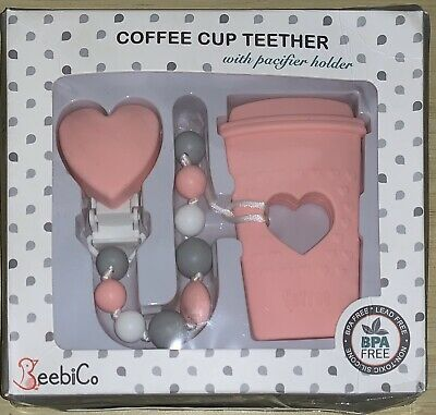 BEEBI CO Coffee Cup Teether BPA Free Silicone Beads w/ Pacifier Holder