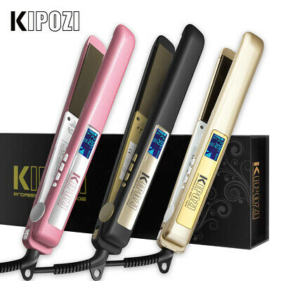 KIPOZI Pro Hair Straighteners Titanium Anti Frizz Flat Iron LCD Display Auto Off