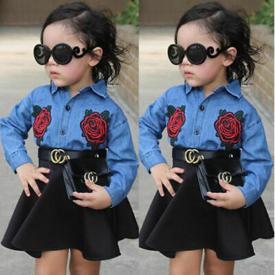Toddler Kids Baby Girls Outfits Floral Clothes Denim Shirt Tops +TUTU skirt Sets