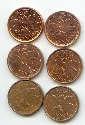 Canada  [ 2011 Mag+Non ] 2002 1993 1992 1991 One Cent Canadian Pennies Penny 1c