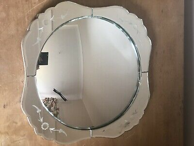 VINTAGE ETCHED 1940/50s ART DECO STYLE MIRROR LOVELY SHAPE