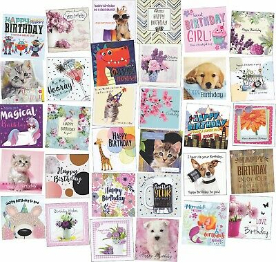 30 Different Square Birthdays Greeting Card Assortment Multi Pack