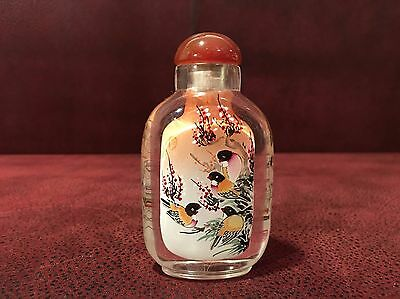 Beautiful Chinese Inside Painted Glass Snuff Bottle Birds