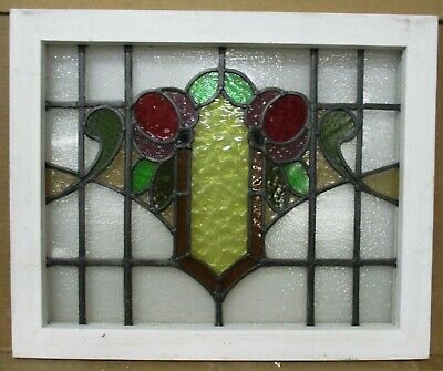 "MIDSIZE OLD ENGLISH LEADED STAINED GLASS WINDOW Pretty Floral 23.75"" x 19.5"""