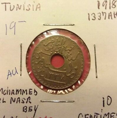 Tunisia 10 Centimes, 1918, World Coin About Uncirculated AU