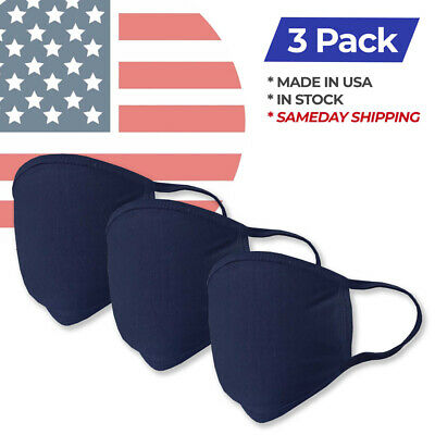 Washable Navy Fashion Double Layer Fabric Face Mask - 3 Pack Made in USA 3 pcs