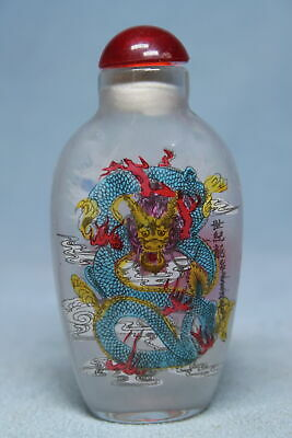 Collectable Exquisite Glass Painting Dragon Auspicious Elegant Snuff Bottles