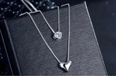 925 sterling silver two layer heart crystal pendant necklace women's jewellery