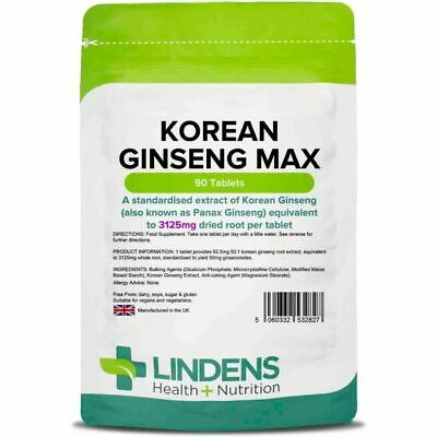 Korean Ginseng Max 3125mg, 90 Tablets Energy Boost Tablets [2827]