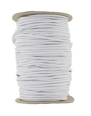 Elastic Cord 6 mm round sold in lengths of 2,3,4,5, Metres White