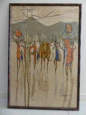 Mid Century Framed picture on cloth (African theme)