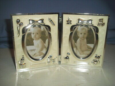 Stephan Baby Folding Picture Frame Silver Tone and Cream