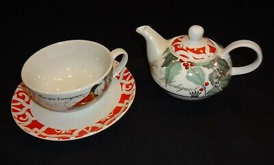 Fringe Holly Fine Porcelain Tea for 4 One 6 Ounce Teapot 8 oz. Teacup W/ Saucer