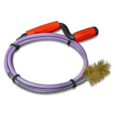 Nirox Plumbers Snake 8mm x 1.4m with Fixed Wire Brush - Pipe Cleaning Spiral ...