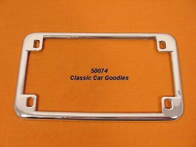 """Motorcycle License Plate Frame. """"Smooth"""" Chrome Metal. Harley Honda Buell"""