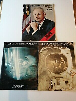 SUNDAY TIMES MAGAZINES 3x 1969 APOLLO MOON LANDING SPECIALS Jun/Jul/Aug 1969