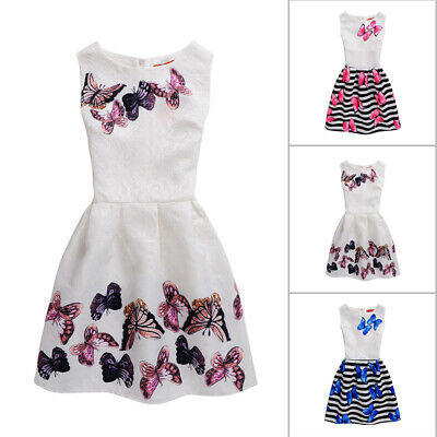 Girls Kids Children Printed Swing Dress Casual Pageant Birthday A-line Dresses