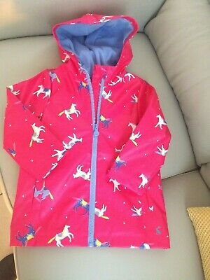 Joules Rain Dance Pink Horses Jacket Age 4 Brand New With Tags