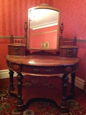 Antique Victorian Dressing Table Mahogany Framed Mirror 5 DrawersBuyer Collects