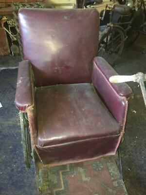 Very RARE Antique John Carter Red Leather Invalid Chair London c1900