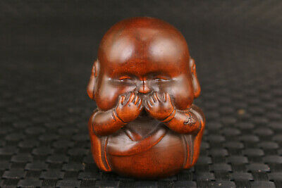 collection chinese old boxwood buddha no say monk figure statue decoration