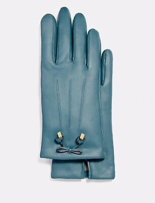 New Coach F20887 Womens Bow Leather Wool Lined Gloves Dark Teal Size 7