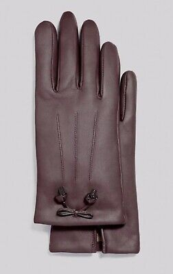 New Coach F20887 Womens Bow Leather Wool Lined Gloves Oxblood Size 7.5