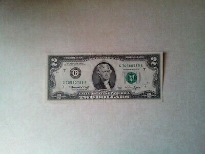 1976 $2 Two Dollar Banknote, Crisp, Very Nice, Xf+, Chicago-Issued