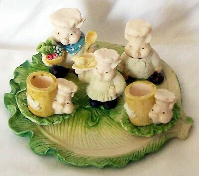 Pig Chefs MINI TEA SET COLLECTION, 10 pieces, Ceramic, Cabbage Leaf Plate
