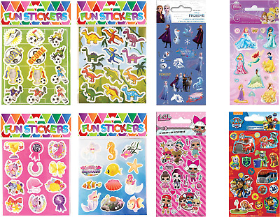 Children Stickers Character Unicorn Fun Sheets Kids Party Bag Fillers Loot Pack