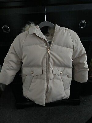 Zara Age 5 Puffa Jacket Coat Girls Cream Beige Fur Hood