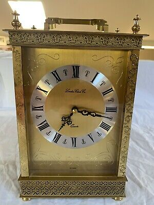 Lovely Heavy Brass Carriage Mantel Clock By London Clock Co
