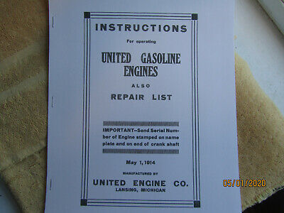 1914 United Engine Co. Gasoline Engine Instruction/Parts Manual 1 1/2 to 12HP
