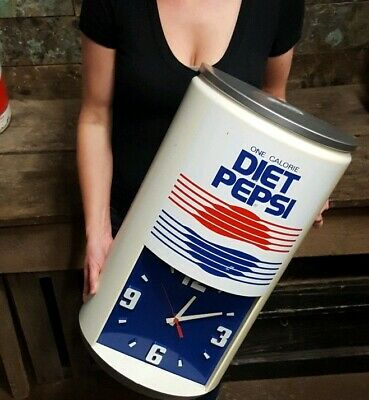 """Vintage Diet Pepsi One Calorie 23-1/2""""H X 13""""W Advertising Can Clock"""